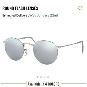 Rayban round flash silver sunglasses